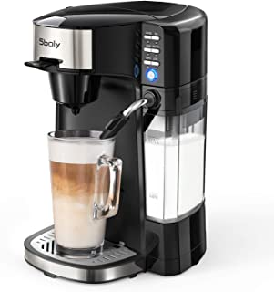 Sboly 6 In 1 Coffee Machine, Single Serve Coffee, Tea, Latte and Cappuccino Maker, Compatible With K-Cup Pods & Ground Coffee, Compact Coffee Brewer with Dishwasher Safe Milk Frother