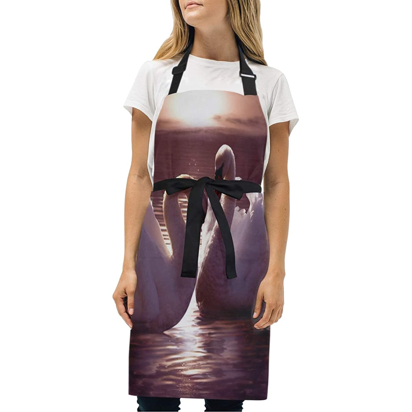 HJudge Womens Aprons White Swan Kitchen Bib Aprons with Pockets Adjustable Buckle on Neck