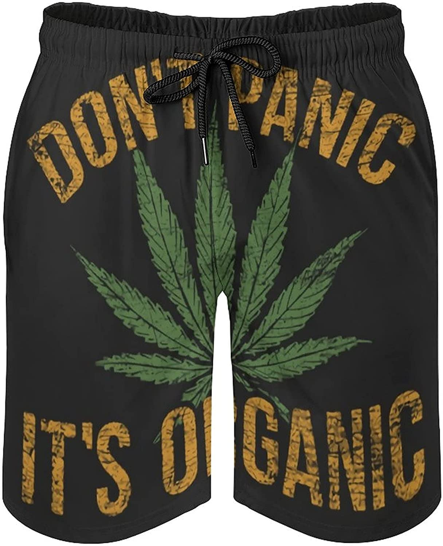 B&MAVIS Don't Panic It's Organic Weed Men's Summer Quick Dry Swim Trunks Casual Board Shorts Beachwear for Boys Men