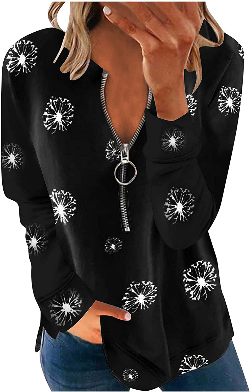 Jeepuch Sweatshirts for Women Oversized Zipper Printing Sweatshirts Long Sleeve Pullover Tops Activewear Running Jacket