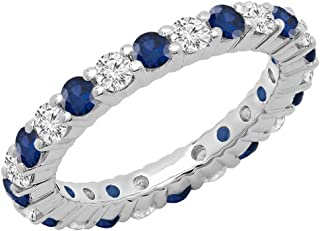 14K Gold Round Blue Sapphire & White Diamond Ladies Eternity Wedding Anniversary Stackable Ring Band