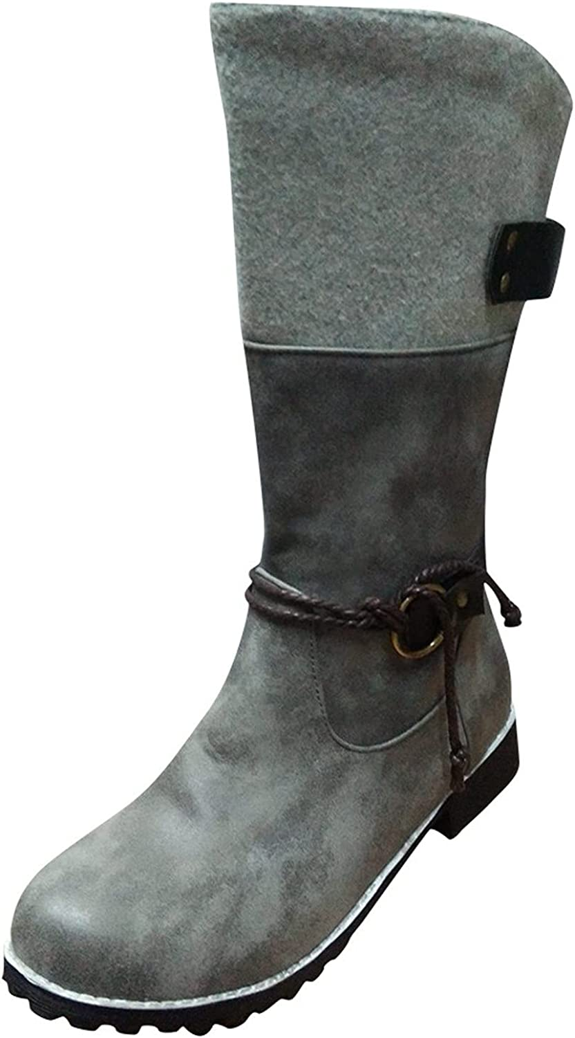 Cowboy 2021 Boots for Women SEAL limited product Buckle Round Toe Zipper Side Winter
