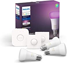 Philips Hue White and Colour Ambiance Starter Kit: Smart Bulb 3X Pack LED [E27 Edison Screw] Including 2X Hue Buttons + Br...
