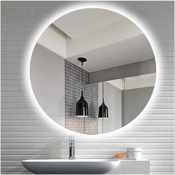 Specchio da parete rotondo con illuminazione a led in varie misure, con forma circolare (rotondo 120 cm) B089S5JPNB