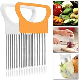 Onion Holder Slicer Cutter Chopper - Tomato Vegetable Lemon Potato Cutter Slicer Odor Remover (White+White)