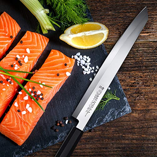 "TUO Sashimi Sushi Knife - 10.5"" Yanagiba Knife Left Handed Japanese Fish Filleting Knife - High Carbon Stainless Steel with Sharp Single bevel Blade (Left)"