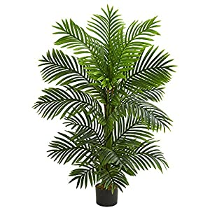 Silk Flower Arrangements Nearly Natural 4' Bamboo Palm Tree Artificial Plant, Green