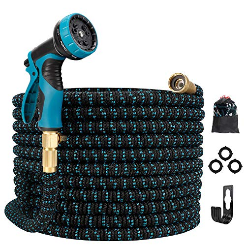 "Gpeng Expandable Garden Hose, Water Collapsible Hose with 9 Function Spray Nozzle, Durable 3-Layers Latex Core with 3/4"" Solid Brass Fittings, Lightweight Expanding Flexible Hose"