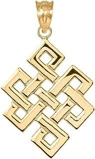 Fine 14k Yellow Gold Japanese Endless Knot Pendant