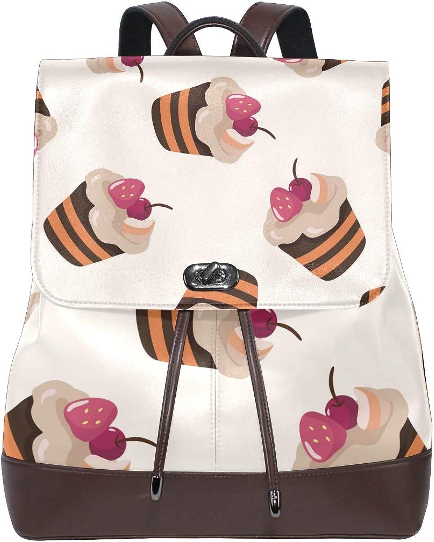DEZIRO Leather Cartoon Cakes Cherry School Pack Backpacks Travel Bag
