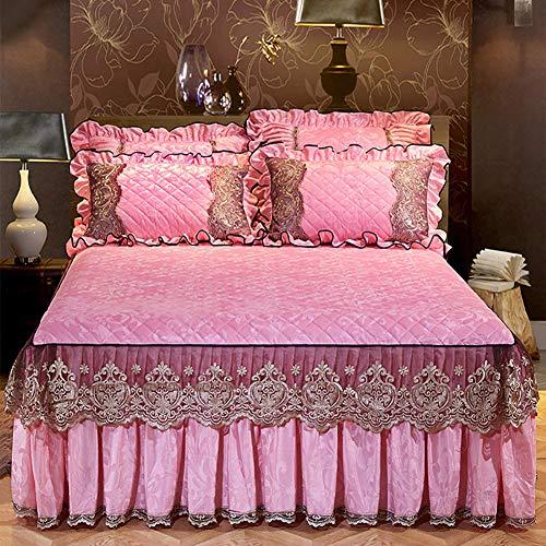 Gesteppter Bett Rock, Bestickt Bett Volant Spitze Tagesdecke Faltenresistent und ausbleichen beständig Mit rüschen-I 180x220cm/71x87inch