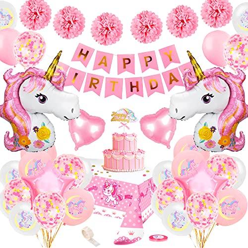 Unicornio Decoración Cumpleaños Niña,TOLOYE Rosa Feliz Cumpleaños Conjunto De Pancartas Unicornio Papel De Aluminio Globo Látex Confeti Fiesta En Globo Decoración Chica