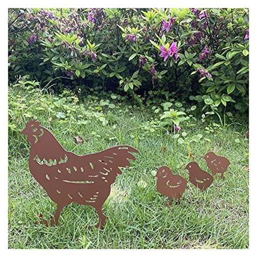 Garten Hühnchen Silhouette-Pfosten Sonnenschutz und wasserdichtes Metall Tier Yard Kunst Schwarzer Dekoration für Lawns Gardens Hinterbilder