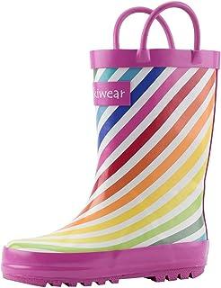 OAKI Kids Waterproof Rubber Rain Boots with Easy-On Handles