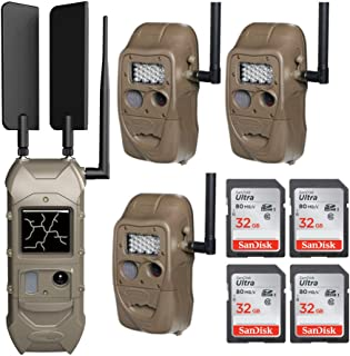 CuddeLink Starter Kit 3 + 1 Trail Camera Cellular Combo Pack and Set of 4 SD 32 GB Cards (5 Items)
