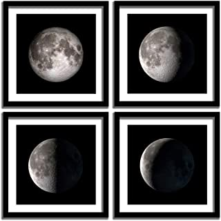 ENGLANT - 4 Pieces Framed Moon Phases Canvas Wall Art, Black and White Bedroom Wall Décor, Abstract Giclee Space Artwork with Matting and Acrylic Panel Sealing, for Home and Office Decoration