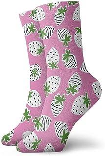 Kevin-Shop, Calcetines Blancos con Tobillo de Fresa Calcetines Casuales y acogedores para Hombres, Mujeres, niños