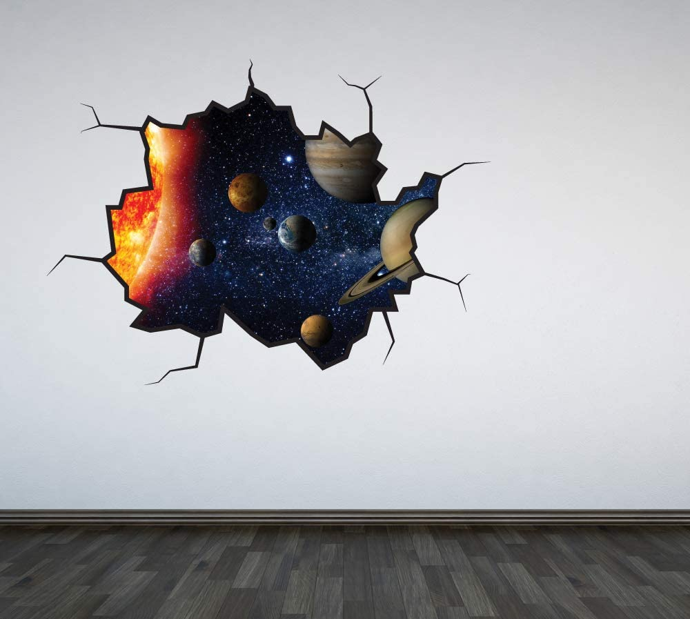 Full Colour Solar System Cracked Wall Sticker Decal Boys Bedroom Outer Space Universe Planets Playroom Galaxy Home Improvement
