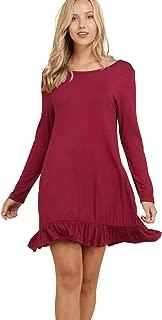 Annabelle Women's Mini Length Solid Print Ruffled Hem Round Neck Long Sleeve Dress with Pockets S-3XL