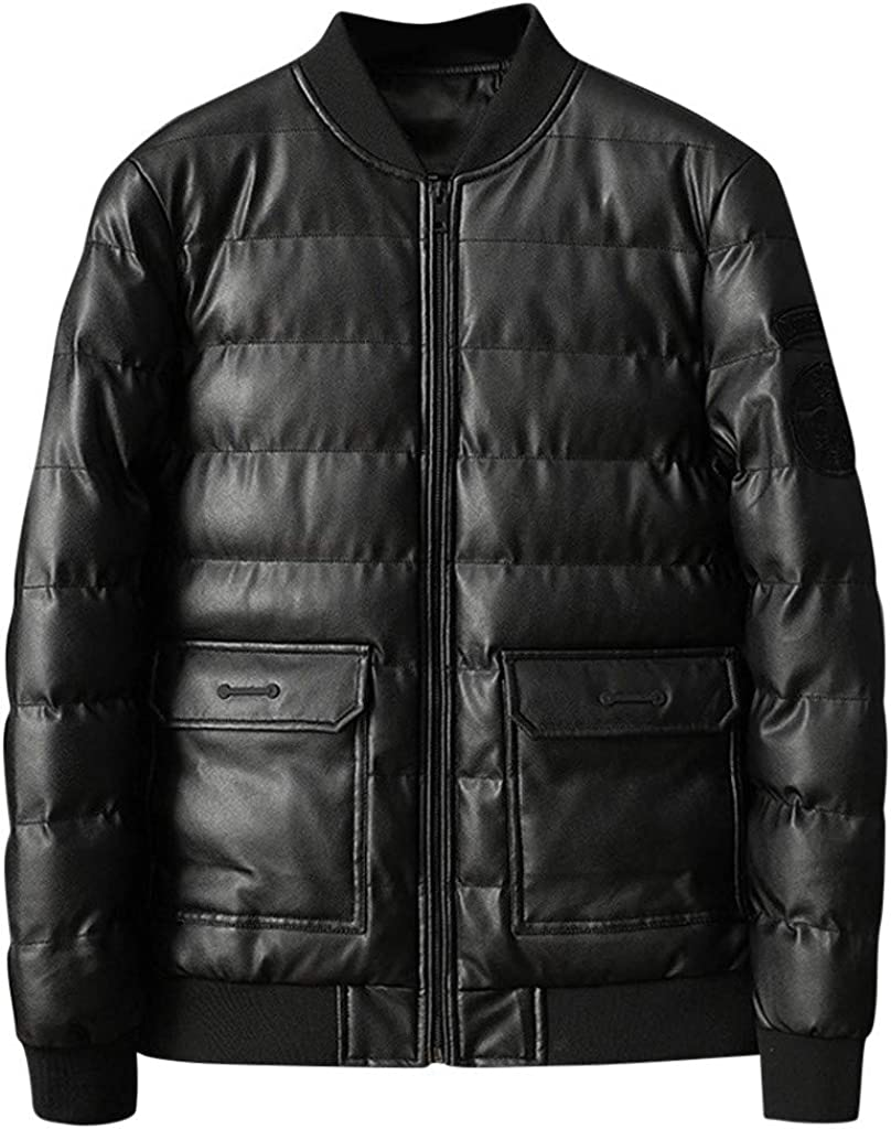 Men's Leather Down Jacket, NRUTUP Winter Warm Leather Puffer Bomber Jacket Faux Leather Motorcycle Jacket Work Casual