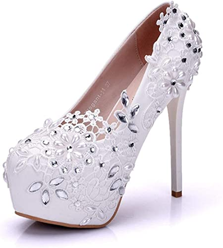 Qiusa Hausschuhe de Noche con Silberforma Oculta Slip-on de satén para la Moda de Boda (Farbe   Weiß-14cm Heel, tamaño   4.5 UK)