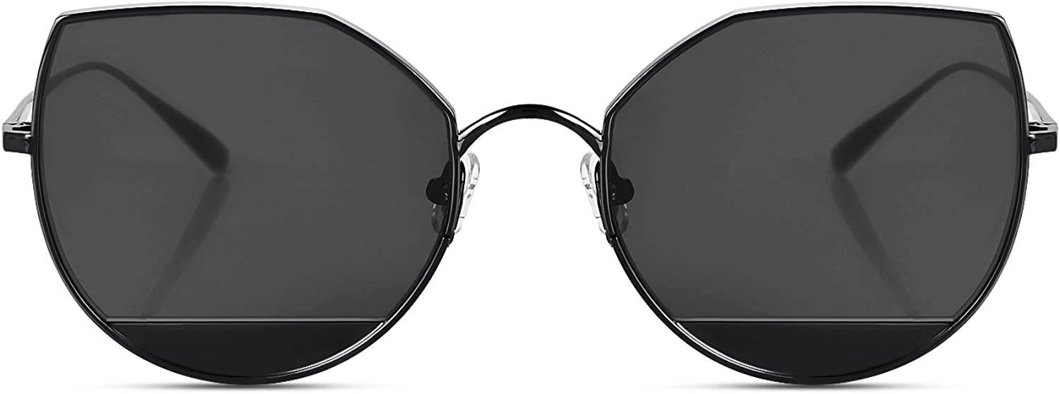 CANYEUX Cat Eye Flat Lens Metal Frame Sunglasses for Women with UV400