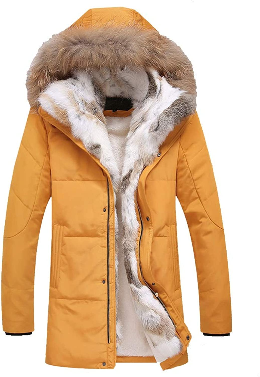 New Down Jacket, Men's Casual Long Hooded Jacket with Large Fur Collar, Winter Outdoor Cold Warm Clothing, Suitable for Cold Weather (color   Yellow, Size   XXXL)