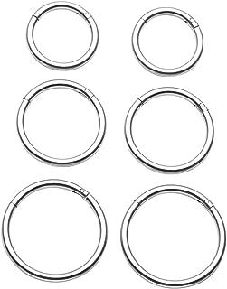 PiercingJ 6-8pcs 16G Stainless Steel Hinged Clicke Hoop Hinged Huggie Stud Earrings for Ear Tragus Cartilage Septum Nose Lip Eyebrow Nipple Ring