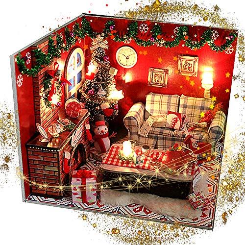 SHYNAN DIY Weihnachts Miniatur Puppenhaus Kit Für Heiligabend Mit Staubdichter Abdeckung Und Möbelzubehör LED Leuchten Kindertag Geburtstagsgeschenk Weihnachtsdekoration