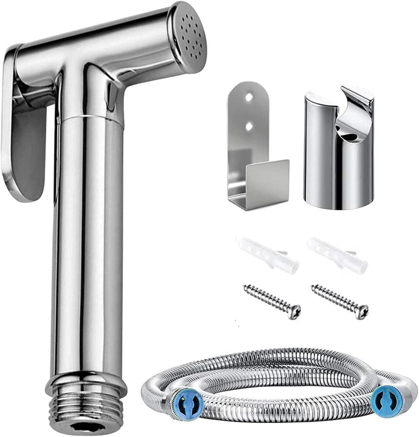 Rociador de bidé de mano – Pulverizador de acero inoxidable Shattaf para inodoro o lavabo – con manguera de 59 pulgadas y soporte, para higiene personal y rociador de inodoro