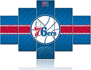 The Philadelphia 76ers Logo Paintings 5 Piece Canvas NBA Wall Art Native American Basketball Pictures Sports Artwork Home Decor for Living Room Giclee Framed Stretched Ready to Hang - 60''Wx40''H