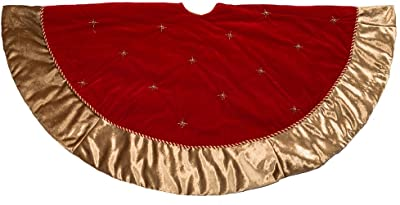 CUSFULL 48 120cm Plush Mercerized Velvet Large Red and White Holiday Traditional Christmas Party Decoration Christmas Tree Skirt
