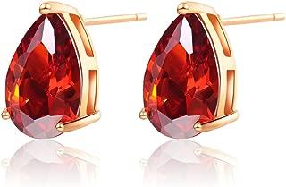 Gold Plated Vintage Teardrop Shaped Cubic Zirconia Stud Earrings for Women