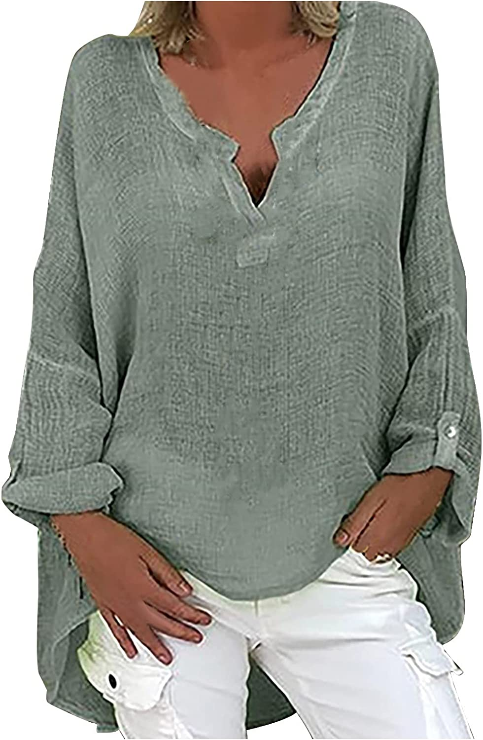 Womens Tops Dressy Casual Trendy Plus Size V-Neck Long Sleeve T-Shirts Solid Color Loose Tunic Tees Daily Soft Blouses