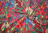 Yuvancrafts Indian Handmade Frida Kahlo Print Cotton Fabric