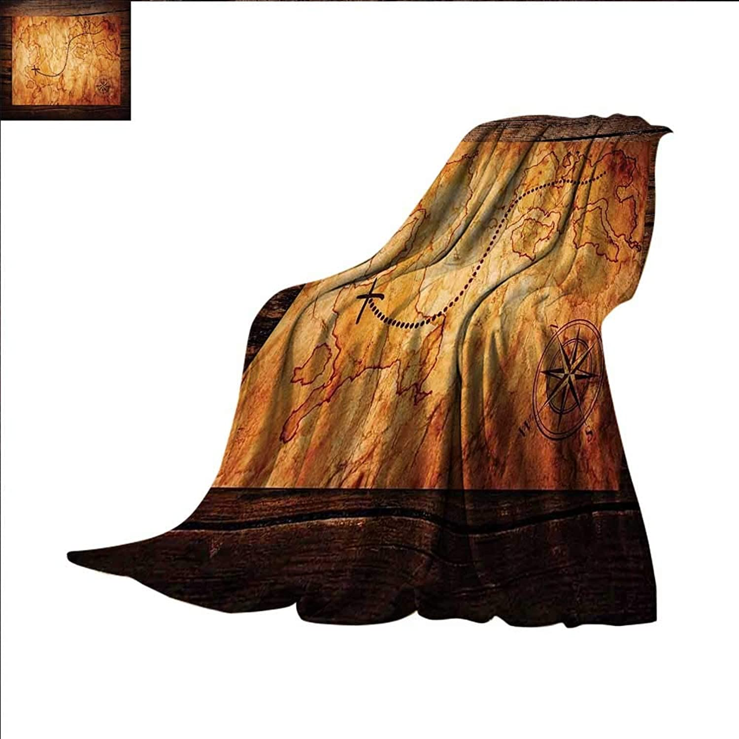 Smallbeefly Island Map Digital Printing Blanket Dated Old Map in Dense color on Wooden Background Hide Out Shores Art Design Summer Quilt Comforter 60 x50  orange Brown