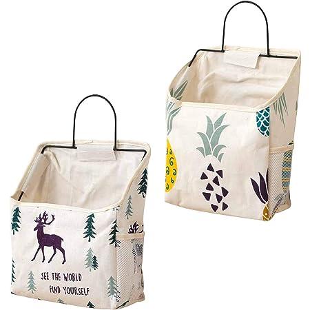 Yemiany 2 pièces sac de rangement en tissu de coton lin avec crochet, sac de rangement mural, placard de porte murale organisateur de rangement suspendu pour chambre à coucher,salle de bain,cuisine(L)
