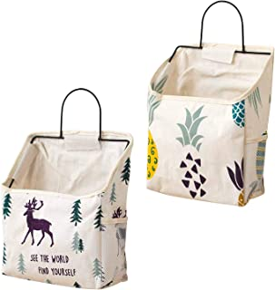 Yemiany 2 pièces sac de rangement en tissu de coton lin avec crochet, sac de rangement mural, placard de porte murale orga...