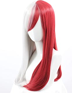 Long Straight Silver White Dark Red Cosplay Wig