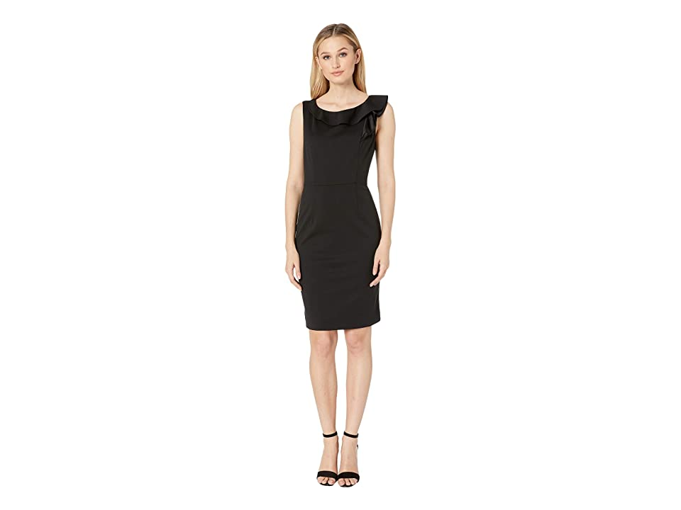 Nine West Scuba Crepe Ruffle Neck Sleeveless Dress (Black) Women