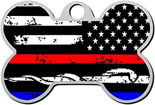 GPZHM Police & Firefighter Flag Pet ID Tags Personalized Custom Print Bone Shape Dog Tags & Cat Tags