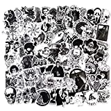 Gothic Stickers for Teens Motorcycle Laptop Skateboard 100PCS Vinyl Waterproof Cool Stickers Horror Skeleton, Black and White Stickers Packs
