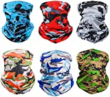 6 Pieces Sun UV Protection Face Mask Neck Gaiter Windproof Scarf Sunscreen Breathable Bandana Balaclava for Sport Outdoor (Camouflage)