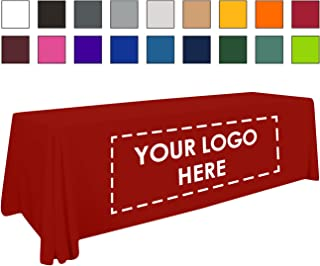 Personalized Add Your Own Logo Custom Tablecloth 8' Red Table Cover - Table Throw
