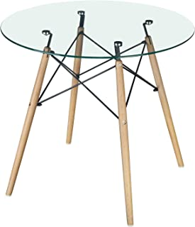 GreenForest Dining Table Modern Round Glass Clear Table...