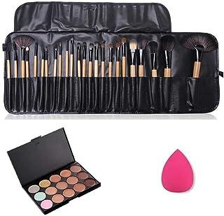 JasCherry 24 Pcs brochas de maquillaje + 1 Esponja Fundación Puff + 15 Colores Corrector Camuflaje Paleta de Maquillaje Cosmética Crema - Perfecto para Sso Profesional y Diario