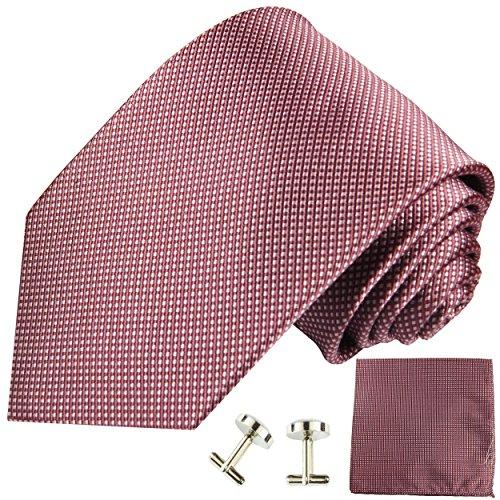 Paul Malone Krawatte schmal mauve gepunktet Set 3tlg - 100% Seide - Schmale Krawatte 6cm mit Einstecktuch und Manschettenknöpfe