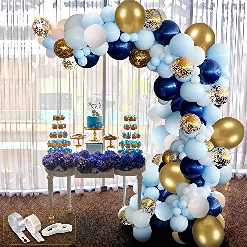 94 pcs kit Ballon Guirlande, Ballons Blanc + Ballon bleu + Ballon Transparents et Confettis + Ballons Dorés Métalliques pour Enfant Anniversaire Mariage Fond fête décoration Fournitures