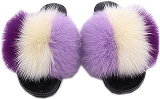 Women's Fur Slipper Feather Leather Fur Slides Outdoor Sandals