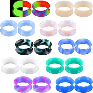 Jewseen 20PCS Soft Silicone Ear Gauges Flesh Tunnels Ear Expander Stretchers Plugs Mixed Color Set Double Flared Flesh Tunnels Ear Piercing Jewelry